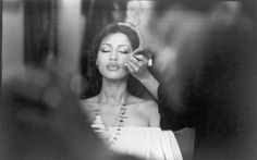 Phyllis Hyman getting her makeup done, mid 1970s