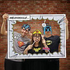 Superhero Photo Booth Props Includes Frame Batman Superman Wonder Woman
