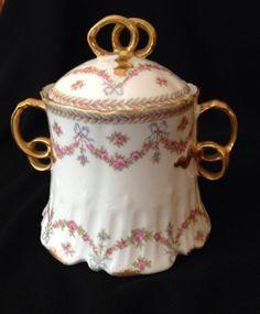 Antique HAVLIAND LIMOGES Ribbons & Bows PORCELAIN & GILT SUGAR BOWL on Ebay