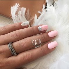 Bright summer nails, Extraordinary nails, Half moonnails with rhinestones, Half-moon nails ideas, Nails with gems, Nails with rhinestones ideas, Nails with stones, Pink nails with rhinestones