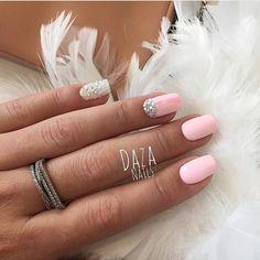 Bright summer nails, Extraordinary nails, Half moonnails with rhinestones, Half-moon nails ideas, Nails with gems, Nails with rhinestones ideas, Nails with stones, Pink nails with rhinestones