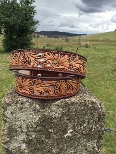 Floral white underlay belt made by DustyCowgirl Leather Like us on Facebook