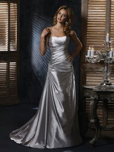 Classic Sheath Silver Satin Ruche Bust Line Strapless Sweetheart Sleeveless Wedding Dress FRONT