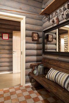внутренняя отделка бревенчатого дома: прихожая