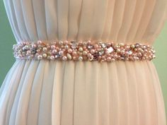 Blush pearl and mixed crystal beaded bridal ribbon sash by blushingbridalshop on etsy www etsy com shop blushingbridalshop Hand Embroidery Dress, Bead Embroidery Patterns, Couture Embroidery, Bead Embroidery Jewelry, Silk Ribbon Embroidery, Embroidery Fashion, Hand Embroidery Designs, Wedding Belts, Frocks For Girls