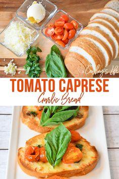How to make tomato caprese garlic bread #bread #capresebread #appetizers