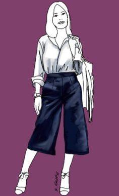 Hosenrock oder Culotte so stylst du ihn richtig für deine rundliche Figur Culotte Style, Cullottes, Culottes Outfit, Trends, Petite Women, Rock, Mode Style, Style Guides, Plus Size Outfits