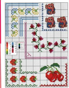 Anaide Ponto Cruz: Beautiful cross stitch graphics of corner barred. Cross Stitch Boarders, Cross Stitch Charts, Cross Stitching, Cross Stitch Patterns, Pach Aplique, 123 Stitch, Hippie Crochet, Stitch Cartoon, Cross Stitch Kitchen
