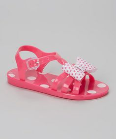 Another great find on #zulily! Fuchsia Polka Dot Bow Jelly Sandal by Chatties #zulilyfinds