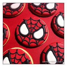 Sorta sad, sorta great, depending on whether you enjoy Geek Sweets… Spiderman Cookies, Spiderman Birthday Cake, Superhero Cookies, Spiderman Theme, 4th Birthday, Gourmet Cookies, Fancy Cookies, Iced Cookies, Sugar Cookies