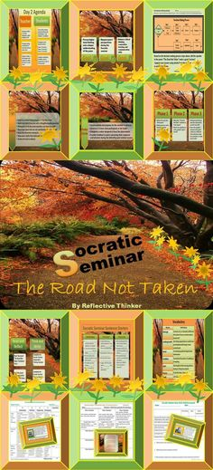 """Socratic seminar is an excellent and engaging way for students to practice higher order thinking skills.  This 32-slide PowerPoint resource with printables is a Socratic seminar featuring the poem """"A Road Not Taken"""" by Robert Frost.  This resource includes a well-organized protocol for conducting a formal discussion or Socratic seminar based on Frost's poem. #Socraticseminar #poetry"""
