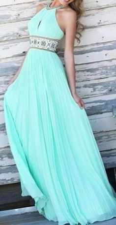 So Pretty! Love this Color! Elegant Mint Green Halter Print Spliced Backless Hollow Out Sage Maxi Dress