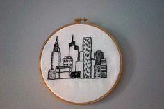 NEW YORK CITY skyline embroidery hoop 5 by stitchpatrick on Etsy