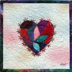 "Beaded valentine mini-quilt, 9 x 9"", by Ann Fahl"