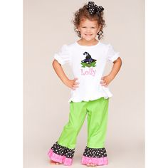 Lolly Wolly Doodle Witch Frog Green Dot Pants Set 8/20