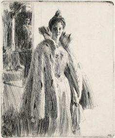 Anders Zorn(Swedish, 1860-1920) - Princess Ingeborg of Sweden, 1900 (Etching)