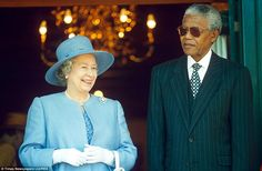 Royal visit: Queen Elizabeth II of Great Britain and President Nelson Mandela during the British monarch's state visit to South Africa in 1995, a year after Mandela took office in 1994.