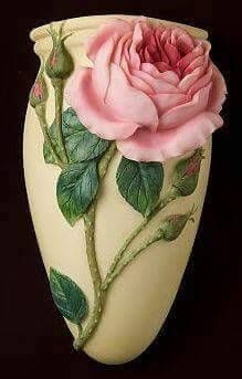 Beautiful English Rose Wall Vase/Wall Pocket made from bonded marble and hand painted in great detail. Glass Bottle Crafts, Bottle Art, Vase Crafts, Clay Crafts, Ceramic Flowers, Clay Flowers, Ceramic Pottery, Ceramic Art, Rose Wall