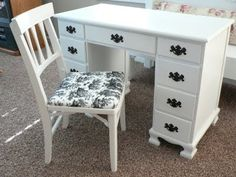 For the Love of it: Desk and Toile Chair Make Over and an End table Redo