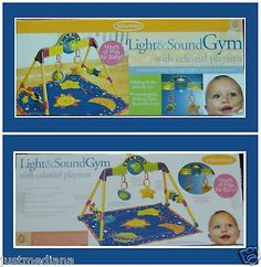 Vintage Baby Infantino Light & Sound Gym W/Celestial Playmat - Hours of Play!