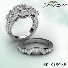 Round Diamond Engagement Ring Certified By GIA, I Color & VS2 Clarity, 14k White Gold.