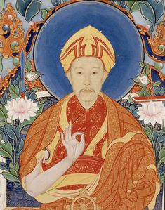 Detail of the Qianlong emperor as the Bohdisattva Manjusri. The face was painted by Western artist Castiglione.