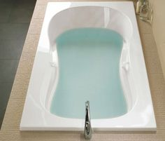 Azur #therapeutic #bathtub by #BainUltra. | 3 Wall Alcove or Drop-In #tub. Curved lines invite total #relaxation and enhance the #benefits of Hydro-thermo #massage. Grab bars and armrests strategically placed for easy access to the #bath.