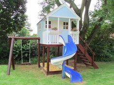 Blue Tree House with 1 swing medium