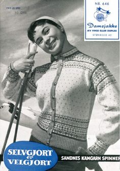 Damejakke Embroidery Patterns, Knitting Patterns, Sweater Patterns, Norwegian Knitting, Vintage Knitting, Vintage Sweaters, Baseball Cards, Kids, Jumpers