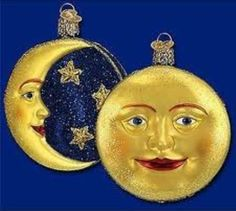 Old World Christmas Outer Space Gifts Glass Blown Ornaments for Christmas Tree Man on The Moon Old World Christmas Ornaments, Halloween Ornaments, Christmas Bulbs, Xmas, Halloween Trees, Merry Christmas, Legends And Myths, Sun Moon Stars, Good Night Moon