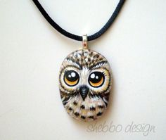 OWL Necklace - Painted on stone by ShebboDesign, via Flickr - Love this!