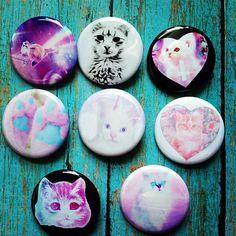 1.25 Pastel Goth Kawaii Set Of 8 Cat Pinback Buttons by GeekFreakBoutique, $10.00