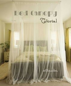 DIY Bedroom Furniture :DIY Canopy Bed : DIY Ceiling Mounted Bed Canopy - Interior ideas house design interior design design and decoration Diy Furniture, Bedroom Furniture, Office Furniture, Ceiling Bed, Ceiling Hooks, Bedroom Ceiling, Ceiling Lighting, Inspiration Ikea, Diy Canopy