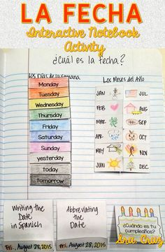 Date Interactive Notebook Activity / La Fecha Interactive Notebook Includes: -flaps for Spanish months -flaps for Spanish days of the week -matchbook for writing the date in Spanish -matchbook for abbreviating the date -birthday cake for birthdays in Spa Spanish Lessons For Kids, Spanish Lesson Plans, Spanish Activities, Learn Spanish, Listening Activities, Spelling Activities, English Lessons, Spanish Vocabulary, Spanish Language Learning