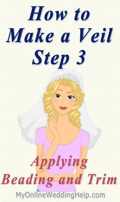 A Video and written step-by-step instructions showing how to add an edge to your veil, like a rhinestone edge, or beaded or lace trim. Veil Diy, Diy Wedding Veil, Wedding Ideas, Wedding Crafts, Wedding Stuff, Wedding Garters, Budget Wedding, Wedding Attire, Wedding Things