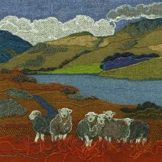 Giclee art prints and greetings cards taken from the Harris Tweed textile art made in Northumberland by textile artist Jane Jackson of Bright Seed Textiles Felt Pictures, Fabric Pictures, Art Textile, Textile Artists, Wool Applique, Embroidery Applique, Machine Embroidery, Textiles, Jane Jackson