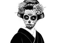 La Catrina Ballpoint Pen Drawings by Shohei Otomo Art Geisha, Geisha Kunst, Pen Illustration, Illustrations, Japanese Pop Art, Japanese Geisha, Fountain Pen Drawing, Art Magique, Ballpoint Pen Drawing