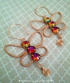 Mariposa butterfly wire wrapped earrings