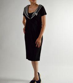 Black Dress, Vintage Dress, Cotton Dress, Gingham Collar, Pencil Dress, Office Dress, Bertha Collar, Shawl Collar, Mad Men Dress Size Med by BuffaloGalVintage on Etsy