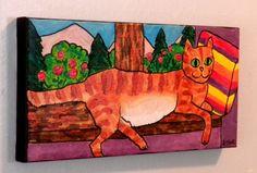 NFAC ORIGINAL 6 x 12 PAINTING on CANVAS Red Tabby Cat on Windowsill DEBBIE HART #WhimsicalFolkArt