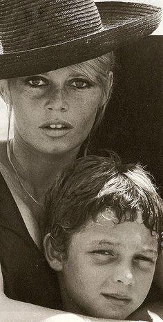 brigitte bardot with her son - 1967.