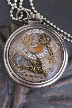 Steampunk Pocket Watch Pendant by FabFunByAnnette on Etsy, $35.00