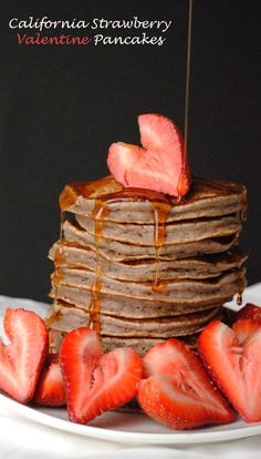 Strawberry Valentine's Day Pancakes