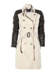 Burberry Prorsum Leather Sleeve Coat- love it Trench Coats Noirs, Trench  Burberry, Trench ad209a9a8850