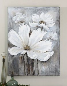 ideas flowers painting techniques for 2019 Canvas Wall Art Uk, Hand Painted Canvas, Oil Painting Abstract, Abstract Canvas, Oil Paintings, Painting Techniques, Watercolor Techniques, Flower Art, White Magic