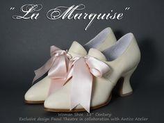 IVORY 18 century shoes - Marie Antoinette shoes - 18 th.- scarpa settecento donna avorio