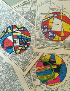 Have an old map book, box of circles, and some images of Mondrian's primary colo. - Have an old map book, box of circles, and some images of Mondrian's primary color artworks— rea - Mondrian, Arte Madi, Circle Doodles, Classe D'art, Art Carte, School Art Projects, Art Education Projects, Art Education Lessons, Primary Education
