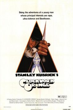 """A Clockwork Orange"" (1971), directed by Stanley Kubrick, and based on the Anthony Burgess novel. Superb Malcolm McDowell as Alex (and Patrick Magee as Mr. Alexander). So many awesome scenes (the milk bar, 7th of Beethoven,..)"