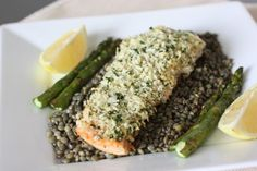 Ina Garten's panko crusted salmon and french lentil. This was excellent, and the lentils alone made an great lunch! Super healthy and filling, just added a caesar salad. Boys loved the lentils.