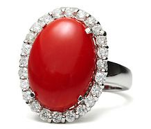 Italian Natural Coral Diamond Ring ❤